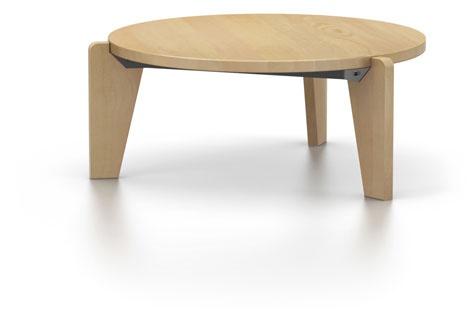 Ronde tafel in amerikaanse esdoorn met schuine poten woodworking